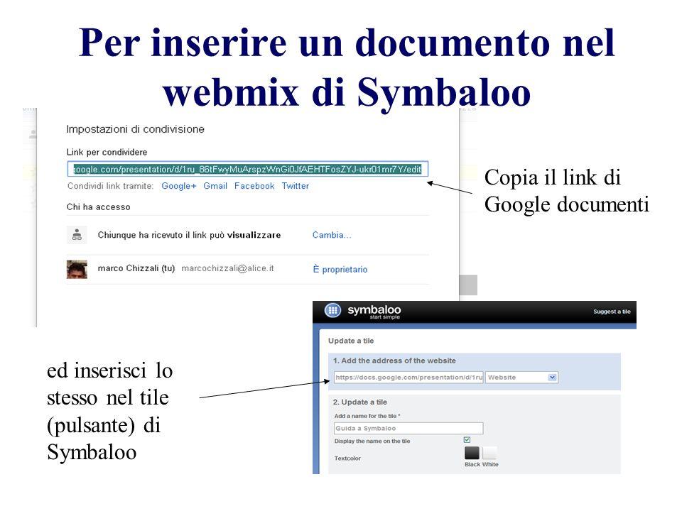 Per inserire un documento nel webmix di Symbaloo Copia il link di Google documenti ed inserisci lo stesso nel tile (pulsante) di Symbaloo