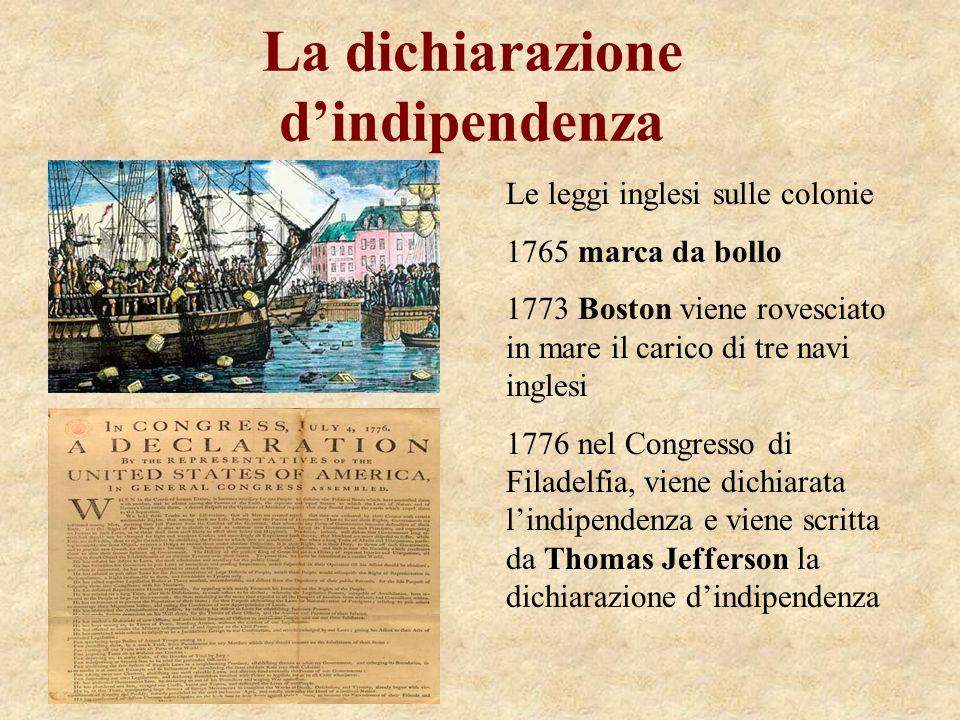 La dichiarazione dindipendenza Le leggi inglesi sulle colonie 1765 marca da bollo 1773 Boston viene rovesciato in mare il carico di tre navi inglesi 1