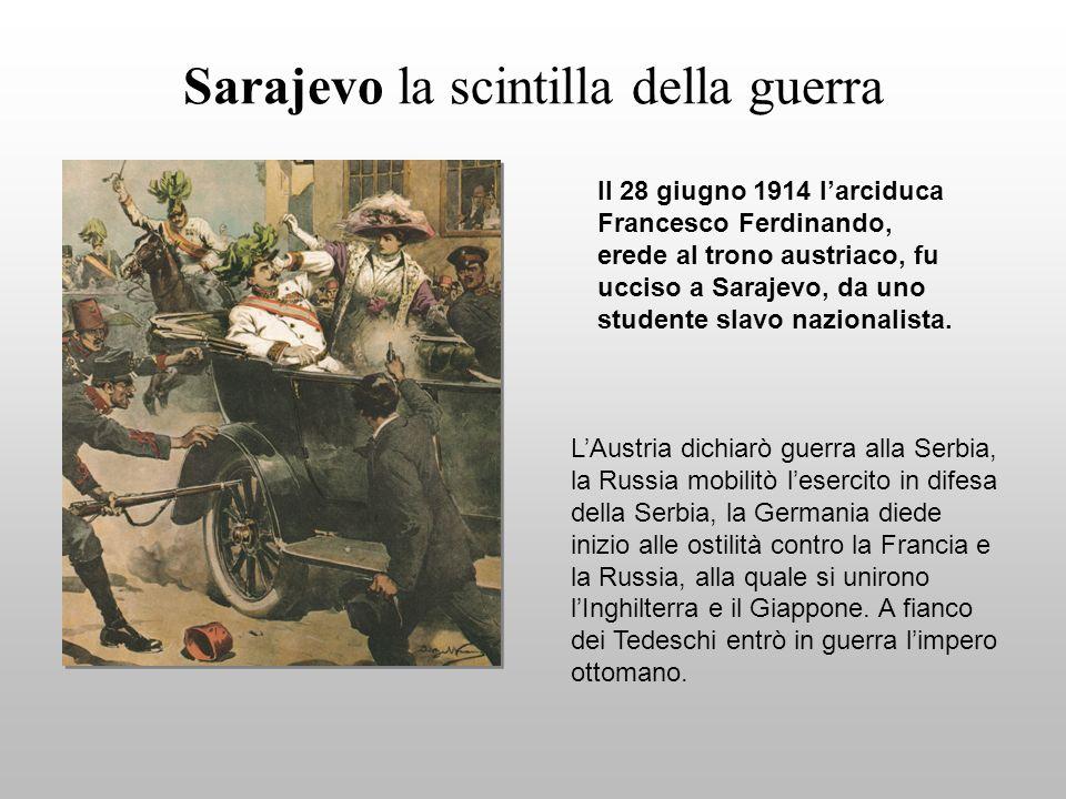 Sarajevo la scintilla della guerra Il 28 giugno 1914 larciduca Francesco Ferdinando, erede al trono austriaco, fu ucciso a Sarajevo, da uno studente slavo nazionalista.