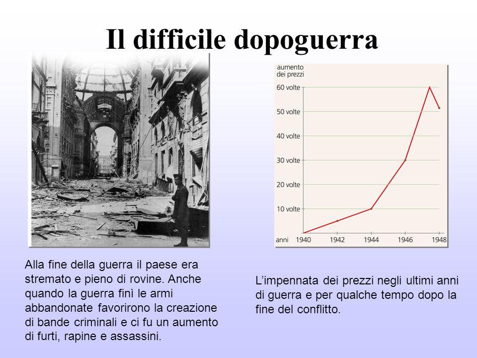 Il difficile dopoguerra Alla fine della guerra il paese era stremato e pieno di rovine. Anche quando la guerra finì le armi abbandonate favorirono la
