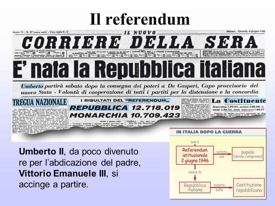 Il referendum Umberto II, da poco divenuto re per labdicazione del padre, Vittorio Emanuele III, si accinge a partire.