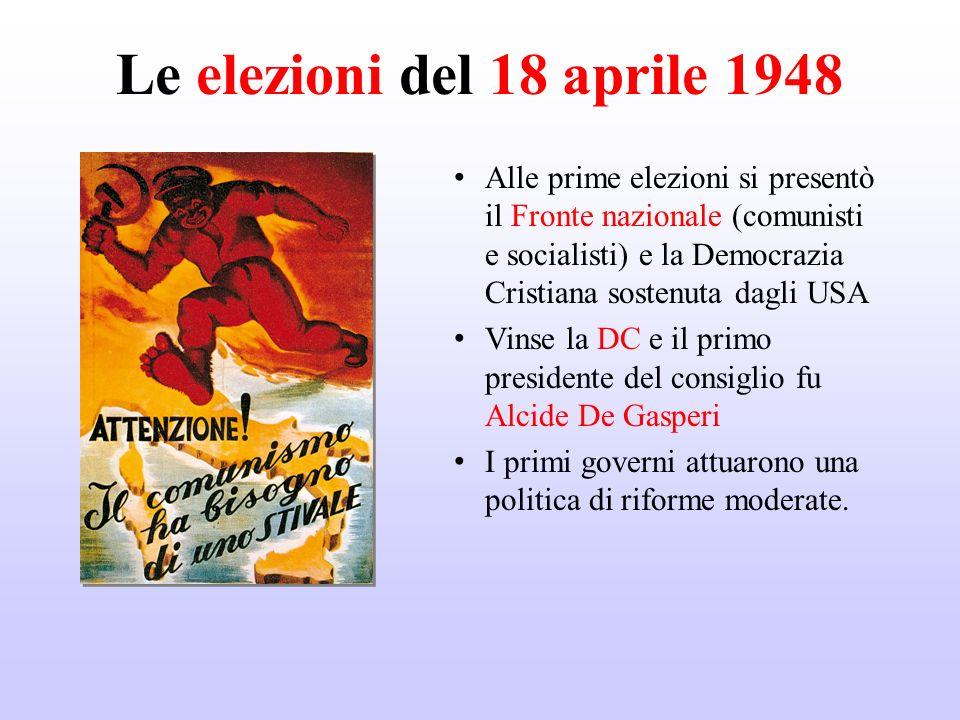 Le elezioni del 18 aprile 1948 Alle prime elezioni si presentò il Fronte nazionale (comunisti e socialisti) e la Democrazia Cristiana sostenuta dagli