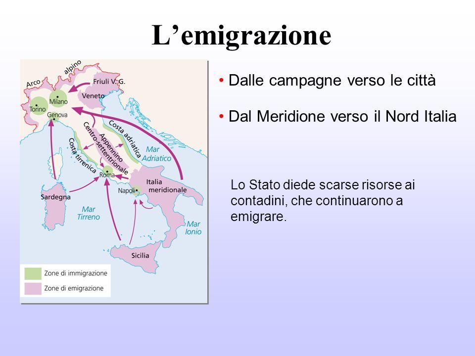 Lemigrazione Dalle campagne verso le città Dal Meridione verso il Nord Italia Lo Stato diede scarse risorse ai contadini, che continuarono a emigrare.