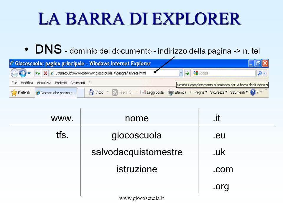 www.giocoscuola.it LA BARRA DI EXPLORER DNS - dominio del documento - indirizzo della pagina -> n.