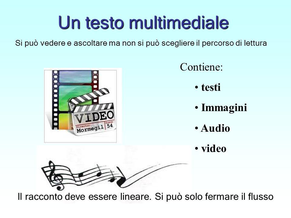 Un testo multimediale Contiene: testi Immagini Audio video Si può vedere e ascoltare ma non si può scegliere il percorso di lettura Il racconto deve essere lineare.