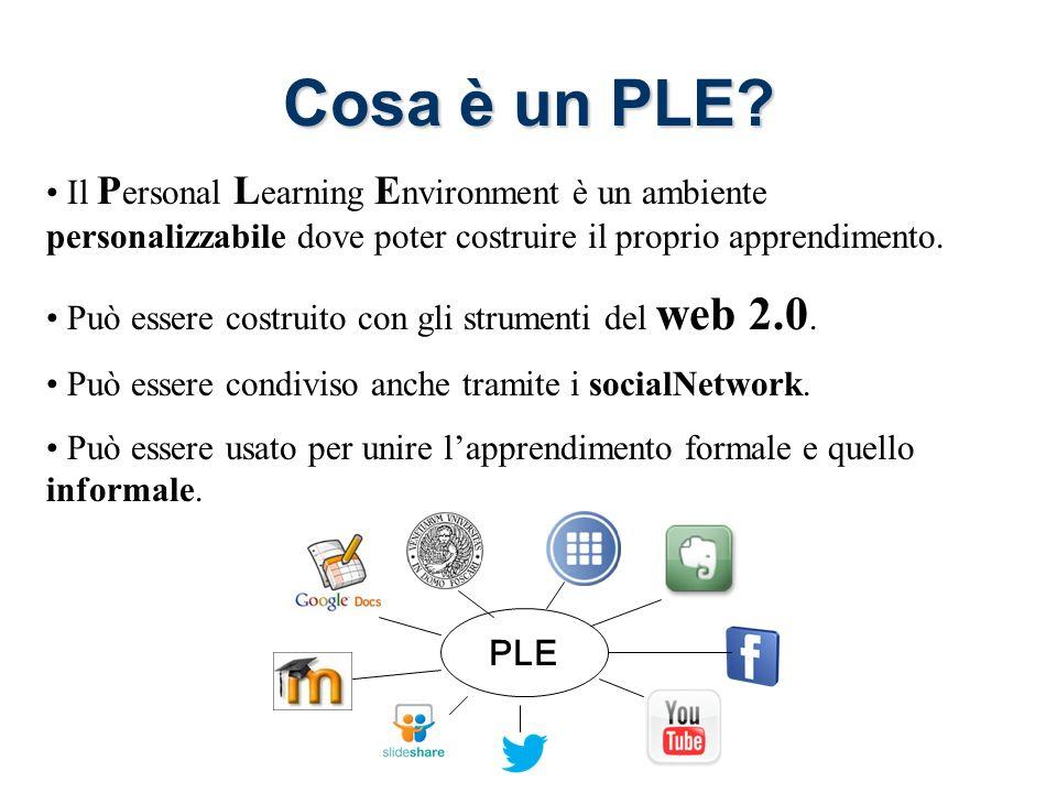Il P ersonal L earning E nvironment è un ambiente personalizzabile dove poter costruire il proprio apprendimento.