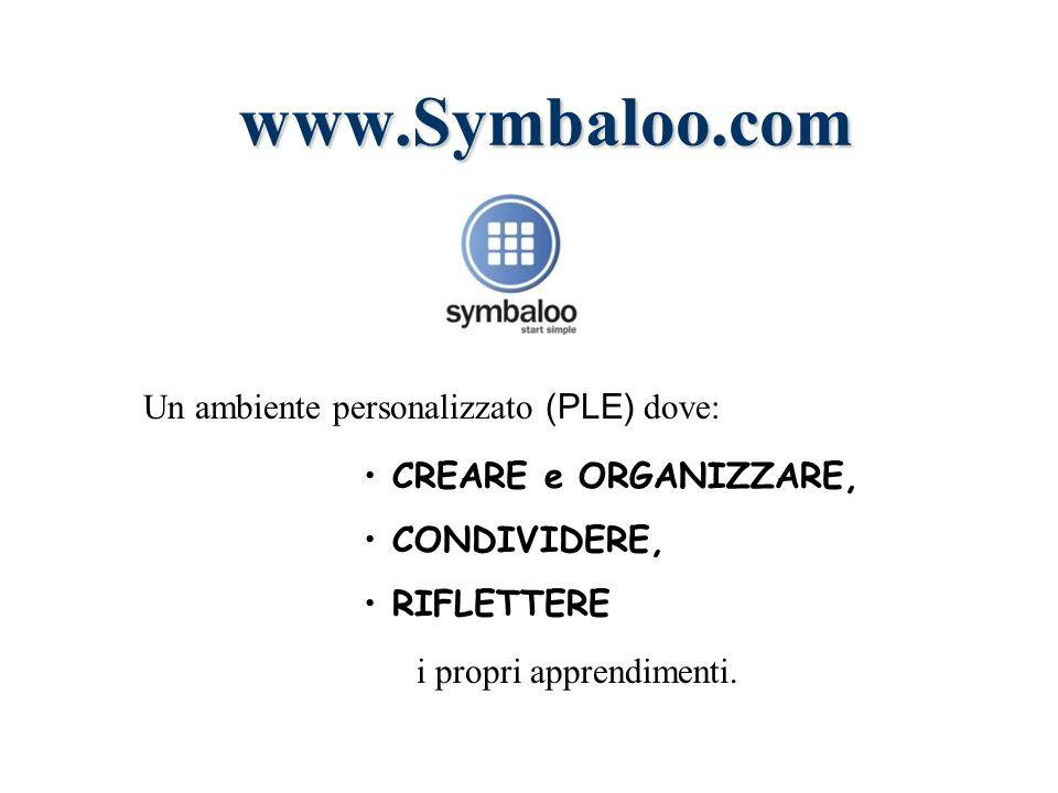 www.Symbaloo.com CREARE e ORGANIZZARE, CONDIVIDERE, RIFLETTERE Un ambiente personalizzato (PLE) dove: i propri apprendimenti.