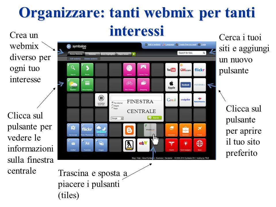 Organizzare: tanti webmix per tanti interessi Crea un webmix diverso per ogni tuo interesse Clicca sul pulsante per vedere le informazioni sulla finestra centrale Trascina e sposta a piacere i pulsanti (tiles) Cerca i tuoi siti e aggiungi un nuovo pulsante Clicca sul pulsante per aprire il tuo sito preferito FINESTRA CENTRALE