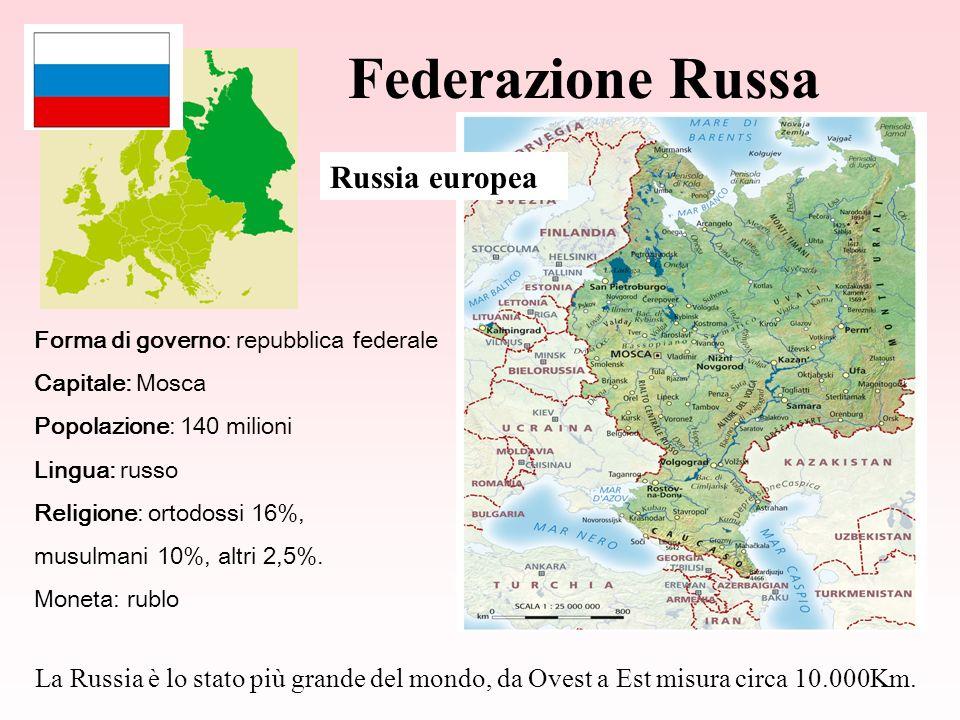 Federazione Russa Forma di governo: repubblica federale Capitale: Mosca Popolazione: 140 milioni Lingua: russo Religione: ortodossi 16%, musulmani 10%, altri 2,5%.