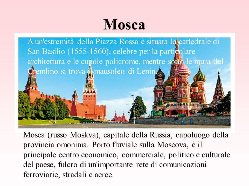 Mosca Mosca (russo Moskva), capitale della Russia, capoluogo della provincia omonima.