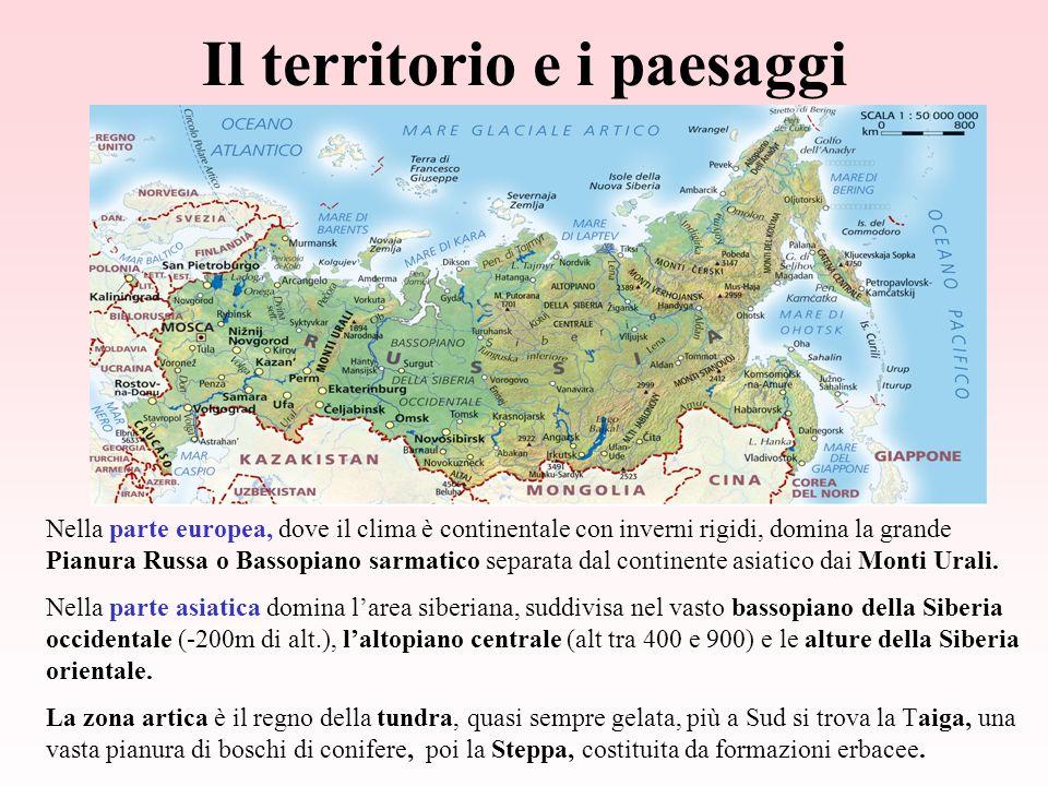Il territorio e i paesaggi Nella parte europea, dove il clima è continentale con inverni rigidi, domina la grande Pianura Russa o Bassopiano sarmatico separata dal continente asiatico dai Monti Urali.