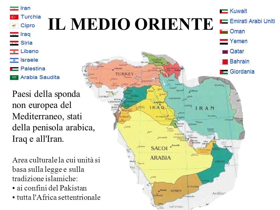 IL MEDIO ORIENTE Paesi della sponda non europea del Mediterraneo, stati della penisola arabica, Iraq e all'Iran. Area culturale la cui unità si basa s