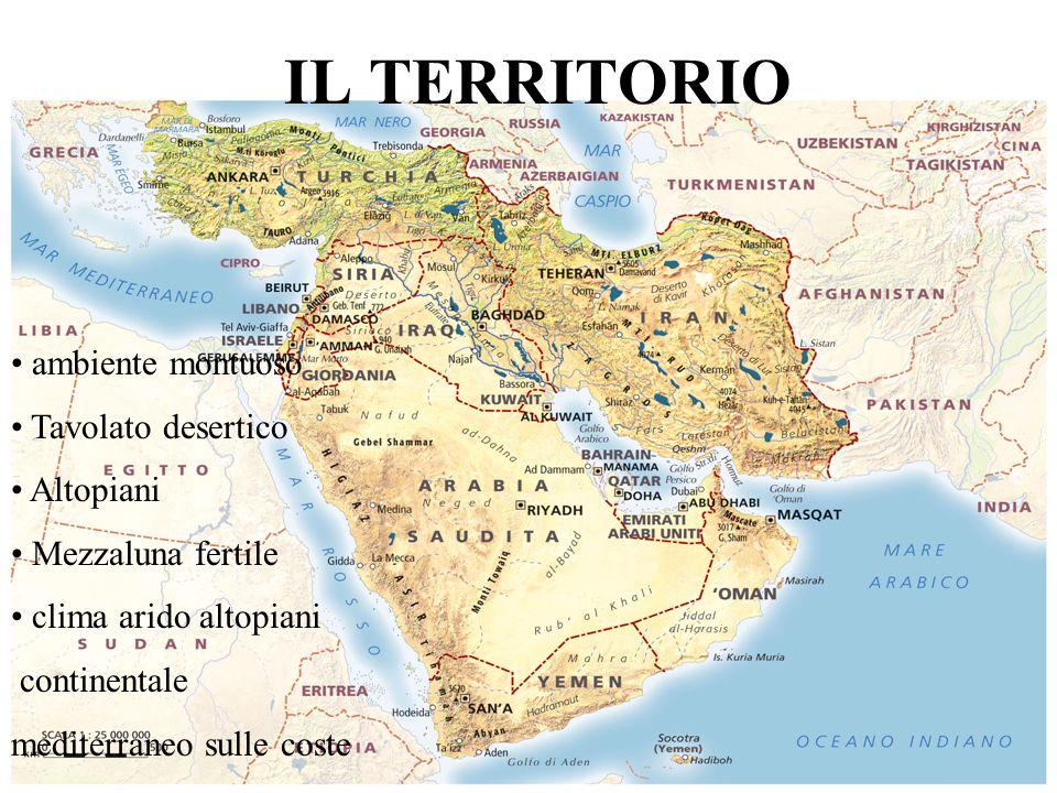 POPOLAZIONE 330 milioni concentrati nelle valli fluviali e nelle città Religione monoteiste Islam -> La Mecca Lingua e cultura araba, persiana e turca Guerre per il petrolio