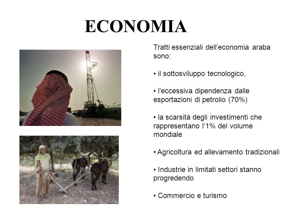 ECONOMIA Tratti essenziali delleconomia araba sono: il sottosviluppo tecnologico, leccessiva dipendenza dalle esportazioni di petrolio (70%) la scarsi