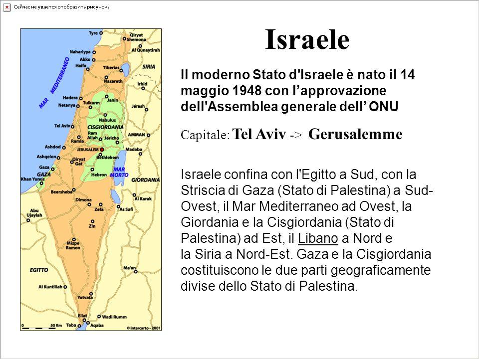 Israele Il moderno Stato d'Israele è nato il 14 maggio 1948 con lapprovazione dell'Assemblea generale dell ONU Capitale: Tel Aviv -> Gerusalemme Israe