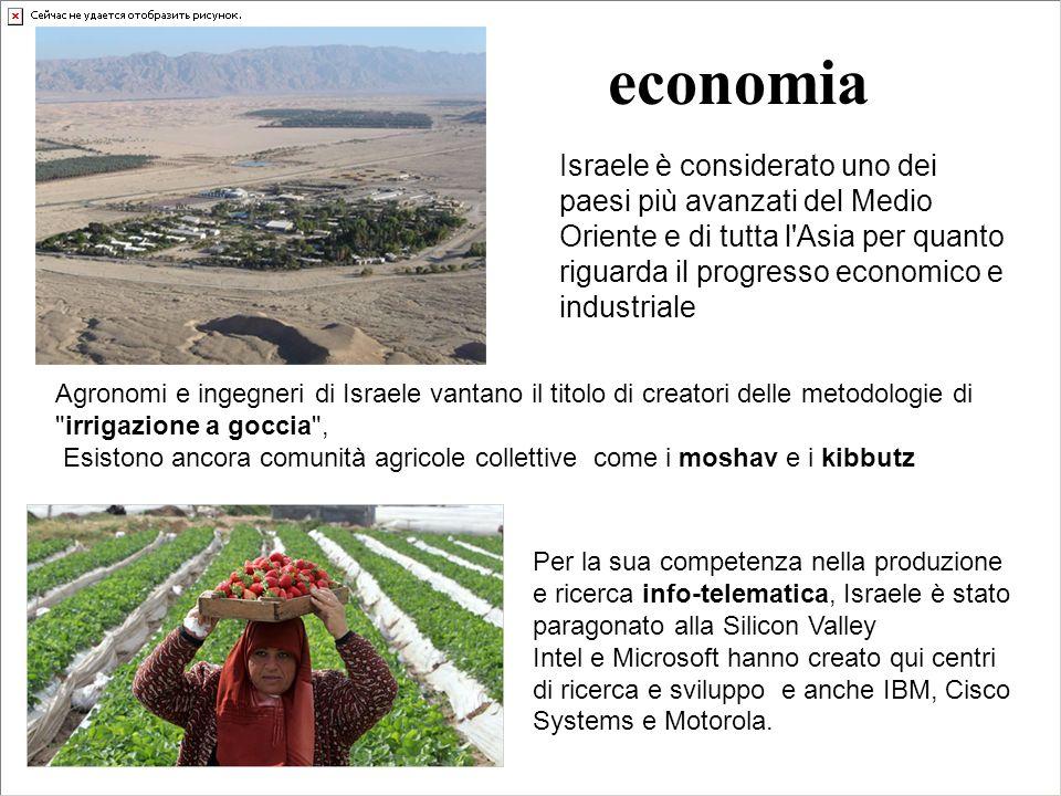 economia Israele è considerato uno dei paesi più avanzati del Medio Oriente e di tutta l'Asia per quanto riguarda il progresso economico e industriale