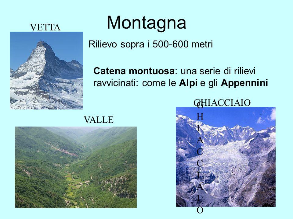 Montagna Rilievo sopra i 500-600 metri Catena montuosa: una serie di rilievi ravvicinati: come le Alpi e gli Appennini GHIACCIAIOGHIACCIAIO GHIACCIAIO