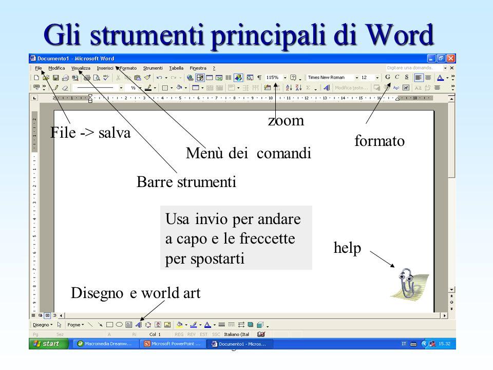 www.giocoscuola.it Gli strumenti principali di Word File -> salva zoom help Barre strumenti formato Disegno e world art Usa invio per andare a capo e
