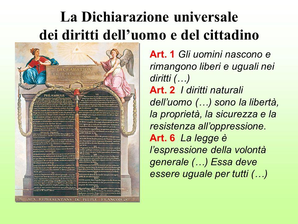Art. 1 Gli uomini nascono e rimangono liberi e uguali nei diritti (…) Art. 2 I diritti naturali delluomo (…) sono la libertà, la proprietà, la sicurez