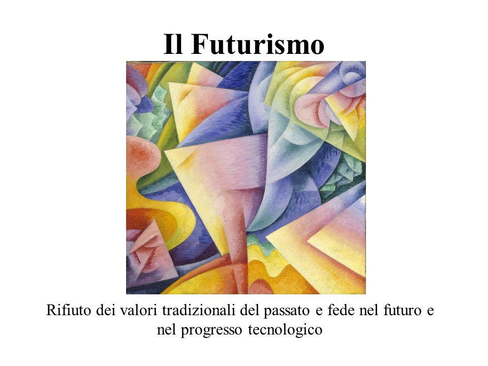 Il Futurismo Rifiuto dei valori tradizionali del passato e fede nel futuro e nel progresso tecnologico
