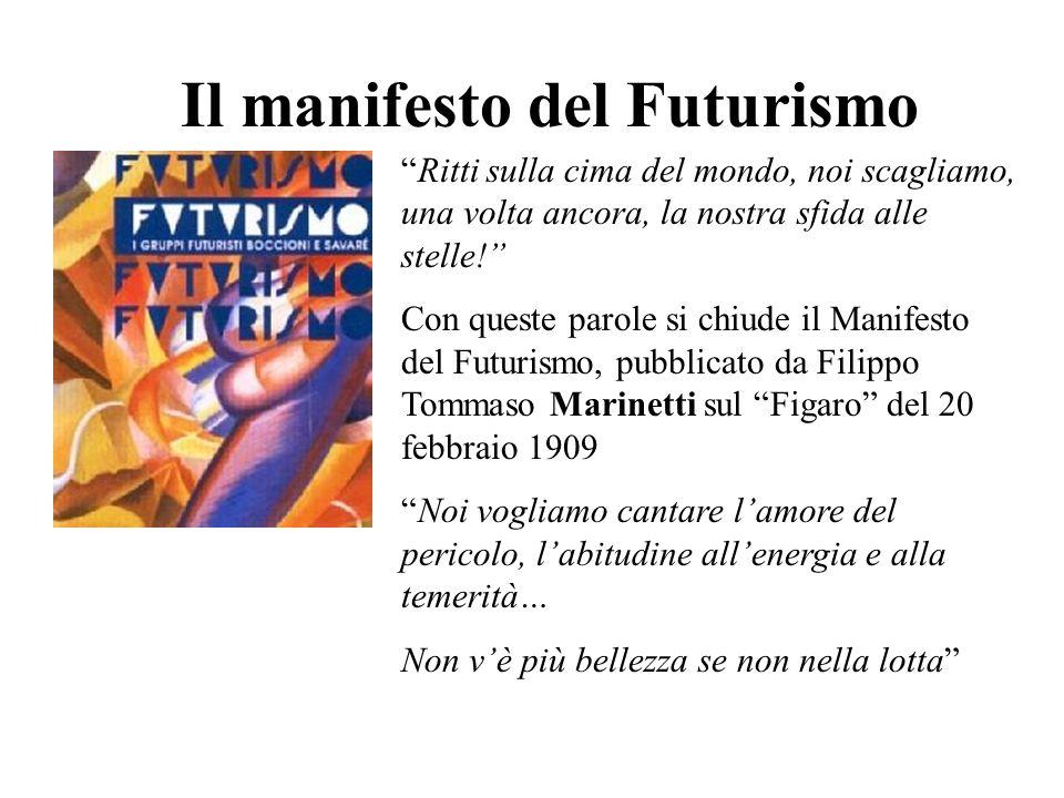 Il manifesto del Futurismo Ritti sulla cima del mondo, noi scagliamo, una volta ancora, la nostra sfida alle stelle! Con queste parole si chiude il Ma