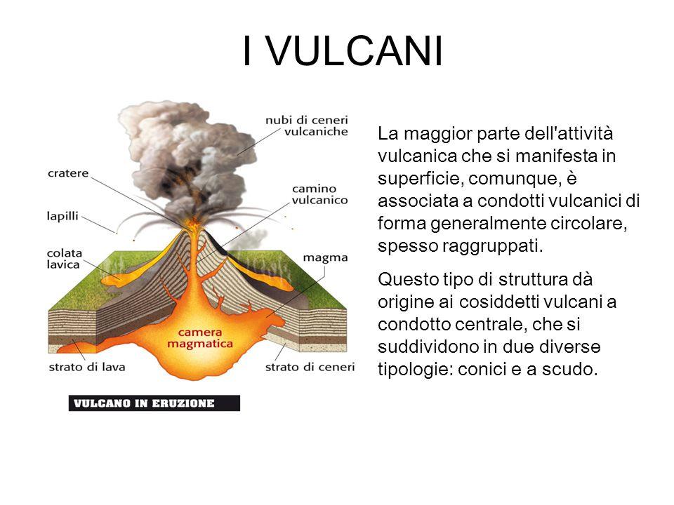 I VULCANI La maggior parte dell attività vulcanica che si manifesta in superficie, comunque, è associata a condotti vulcanici di forma generalmente circolare, spesso raggruppati.