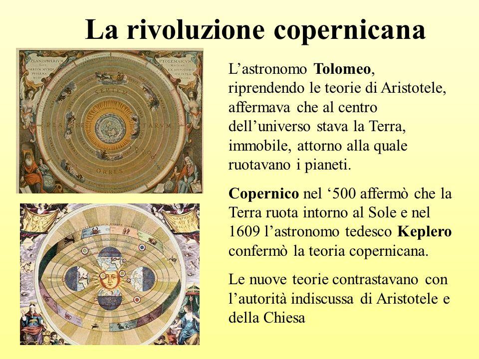 La rivoluzione copernicana Lastronomo Tolomeo, riprendendo le teorie di Aristotele, affermava che al centro delluniverso stava la Terra, immobile, attorno alla quale ruotavano i pianeti.