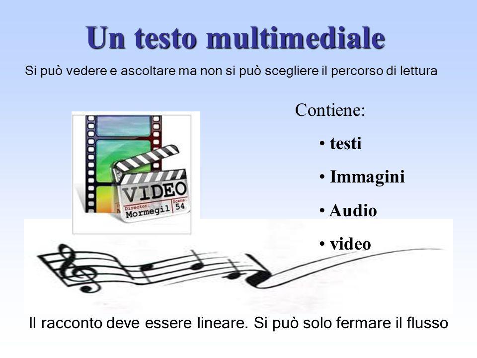 Un testo multimediale Contiene: testi Immagini Audio video Si può vedere e ascoltare ma non si può scegliere il percorso di lettura Il racconto deve e
