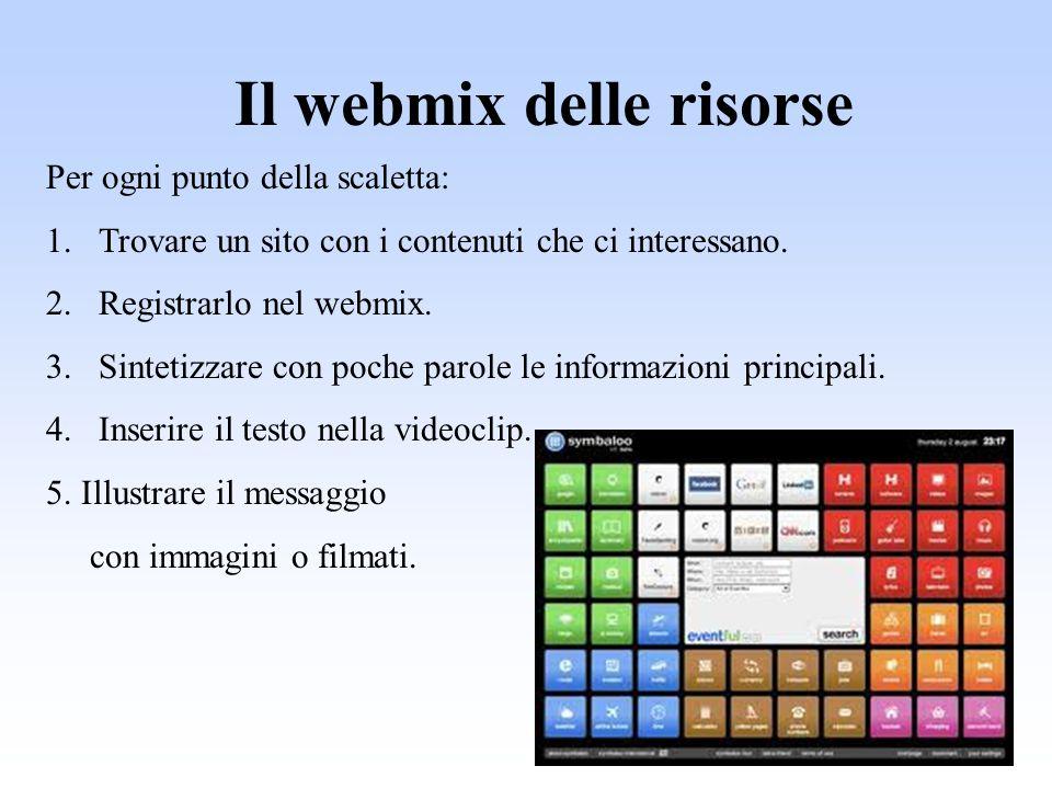 Il webmix delle risorse Per ogni punto della scaletta: 1.Trovare un sito con i contenuti che ci interessano. 2.Registrarlo nel webmix. 3.Sintetizzare
