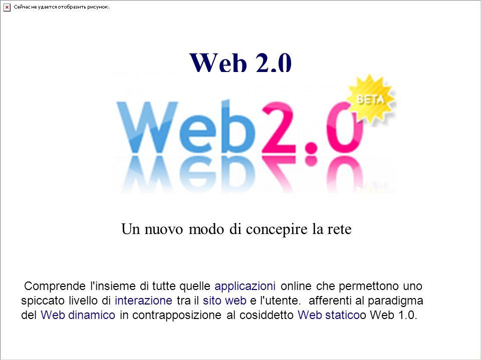 Web 2.0 Un nuovo modo di concepire la rete Comprende l'insieme di tutte quelle applicazioni online che permettono uno spiccato livello di interazione