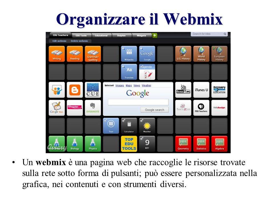 Organizzare il Webmix Un webmix è una pagina web che raccoglie le risorse trovate sulla rete sotto forma di pulsanti; può essere personalizzata nella grafica, nei contenuti e con strumenti diversi.