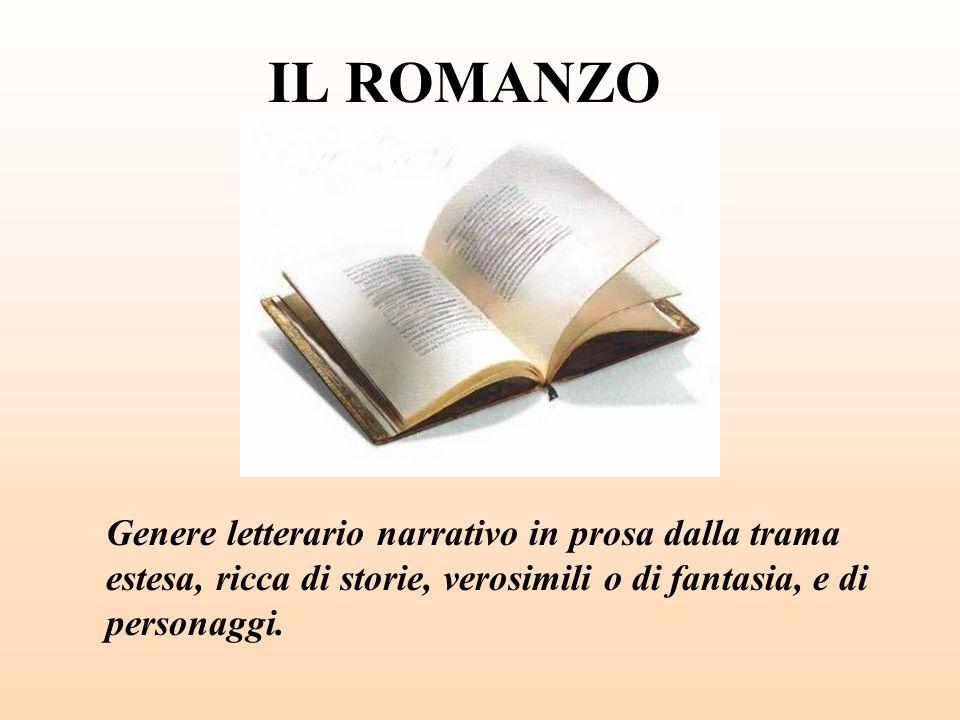 IL ROMANZO Genere letterario narrativo in prosa dalla trama estesa, ricca di storie, verosimili o di fantasia, e di personaggi.