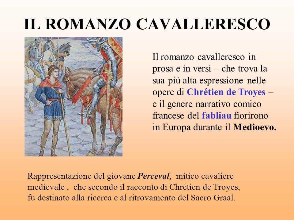 IL ROMANZO CAVALLERESCO Il romanzo cavalleresco in prosa e in versi – che trova la sua più alta espressione nelle opere di Chrétien de Troyes – e il g