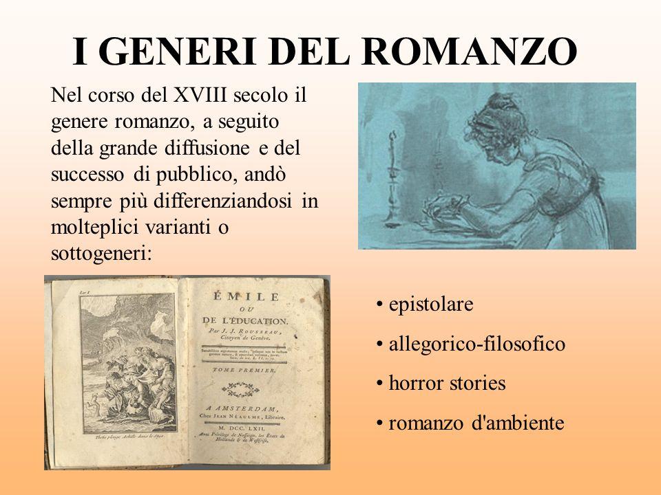 I GENERI DEL ROMANZO Nel corso del XVIII secolo il genere romanzo, a seguito della grande diffusione e del successo di pubblico, andò sempre più diffe