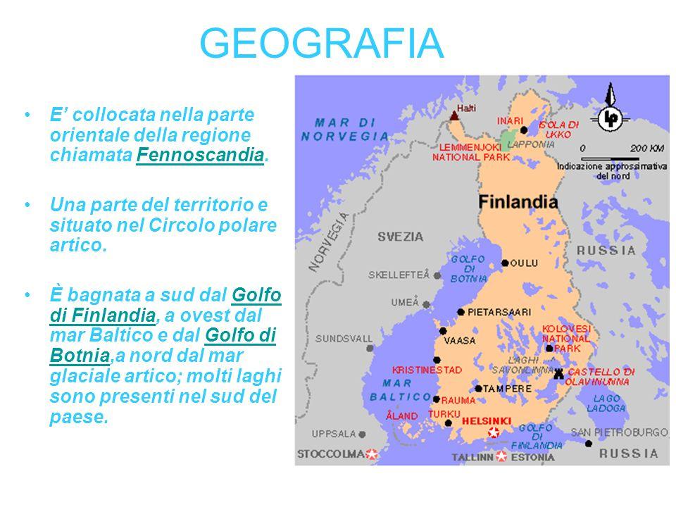 GEOGRAFIA E collocata nella parte orientale della regione chiamata Fennoscandia.Fennoscandia Una parte del territorio e situato nel Circolo polare art