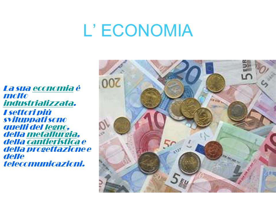 L ECONOMIA La sua economia è molto industrializzata.economia industrializzata I settori più sviluppati sono quelli del legno, della metallurgia, della
