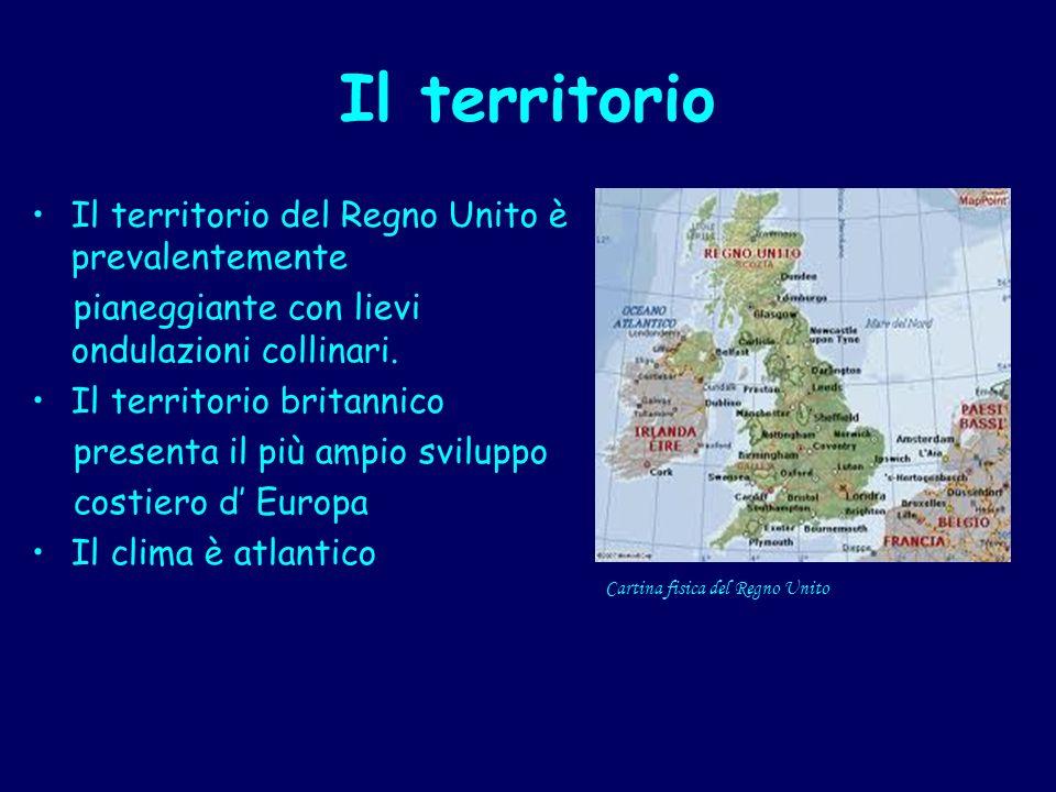 Il territorio Il territorio del Regno Unito è prevalentemente pianeggiante con lievi ondulazioni collinari. Il territorio britannico presenta il più a