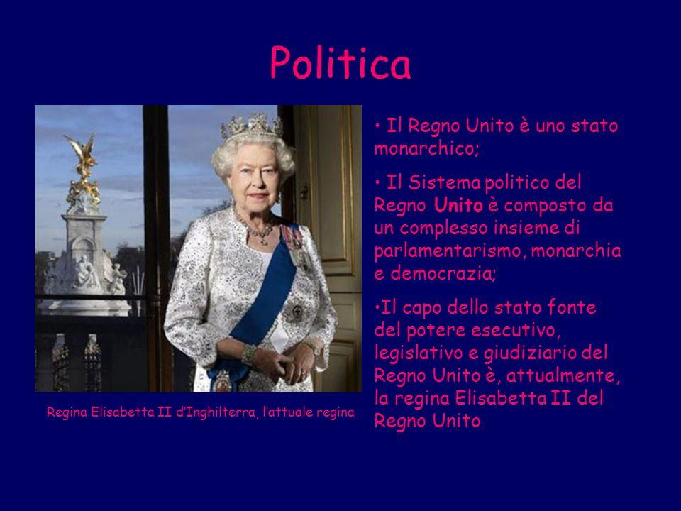 Politica Il Regno Unito è uno stato monarchico; Il Sistema politico del Regno Unito è composto da un complesso insieme di parlamentarismo, monarchia e