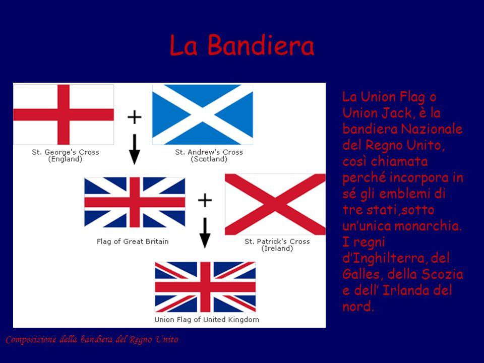 La Bandiera La Union Flag o Union Jack, è la bandiera Nazionale del Regno Unito, così chiamata perché incorpora in sé gli emblemi di tre stati,sotto u