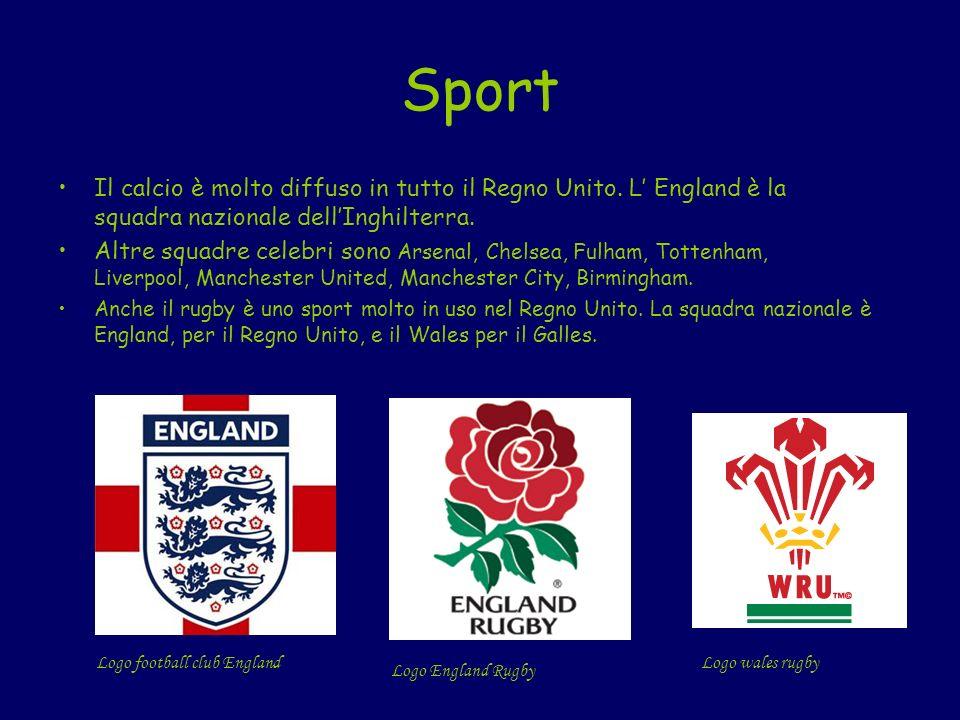 Sport Il calcio è molto diffuso in tutto il Regno Unito. L England è la squadra nazionale dellInghilterra. Altre squadre celebri sono Arsenal, Chelsea