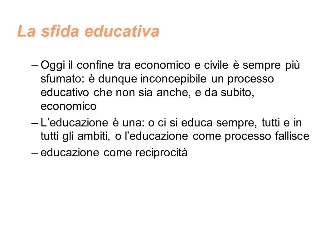 La sfida educativa –Oggi il confine tra economico e civile è sempre più sfumato: è dunque inconcepibile un processo educativo che non sia anche, e da