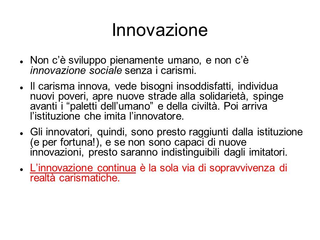 Innovazione Non cè sviluppo pienamente umano, e non cè innovazione sociale senza i carismi. Il carisma innova, vede bisogni insoddisfatti, individua n
