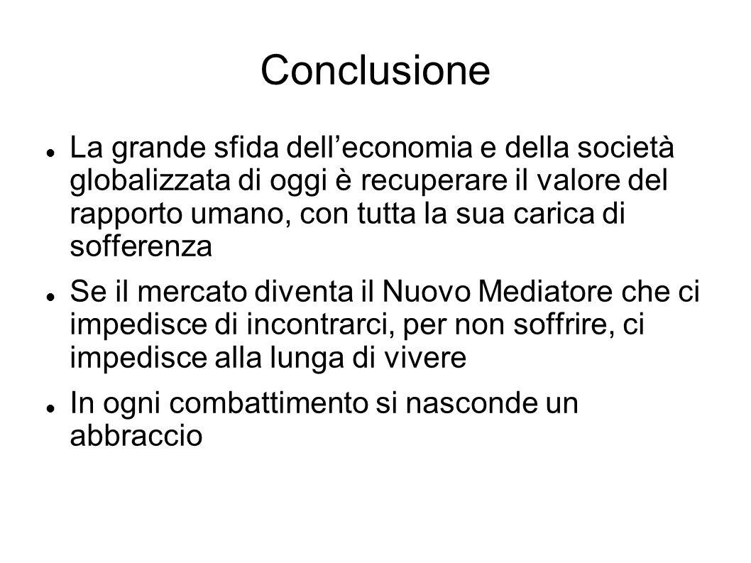 Conclusione La grande sfida delleconomia e della società globalizzata di oggi è recuperare il valore del rapporto umano, con tutta la sua carica di so