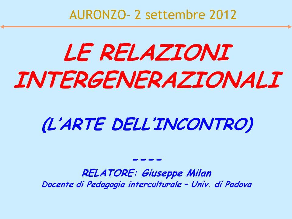 AURONZO– 2 settembre 2012 LE RELAZIONI INTERGENERAZIONALI (LARTE DELLINCONTRO) ---- RELATORE: Giuseppe Milan Docente di Pedagogia interculturale – Uni