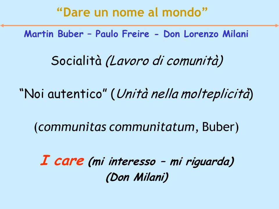 Dare un nome al mondo Martin Buber – Paulo Freire - Don Lorenzo Milani Socialità (Lavoro di comunità) Noi autentico (Unità nella molteplicità) (commun