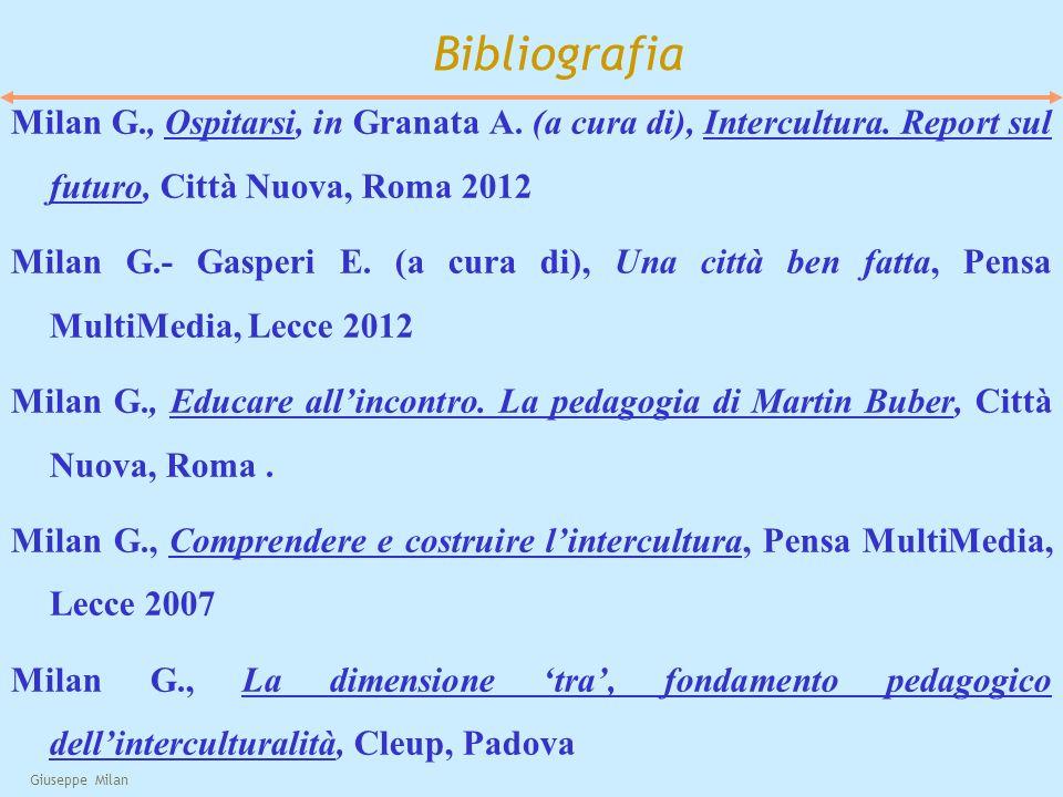 Giuseppe Milan Bibliografia Milan G., Ospitarsi, in Granata A. (a cura di), Intercultura. Report sul futuro, Città Nuova, Roma 2012 Milan G.- Gasperi