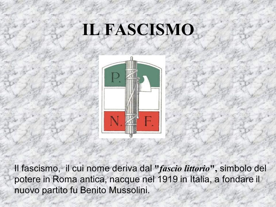 IL FASCISMO Il fascismo, il cui nome deriva dal