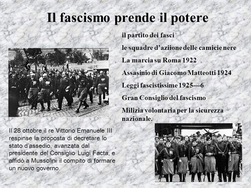 Il fascismo prende il potere il partito dei fasci le squadre daziione delle camicie nere La marcia su Roma 1922 Assasinio di Giacomo Matteotti 1924 Le