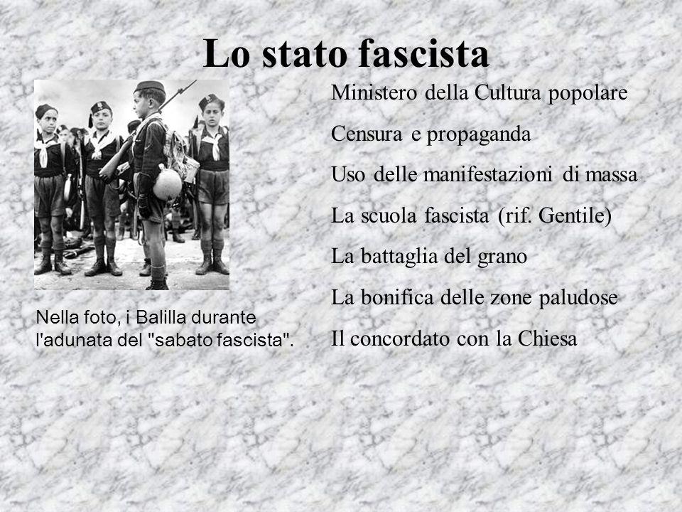 Lo stato fascista Ministero della Cultura popolare Censura e propaganda Uso delle manifestazioni di massa La scuola fascista (rif. Gentile) La battagl