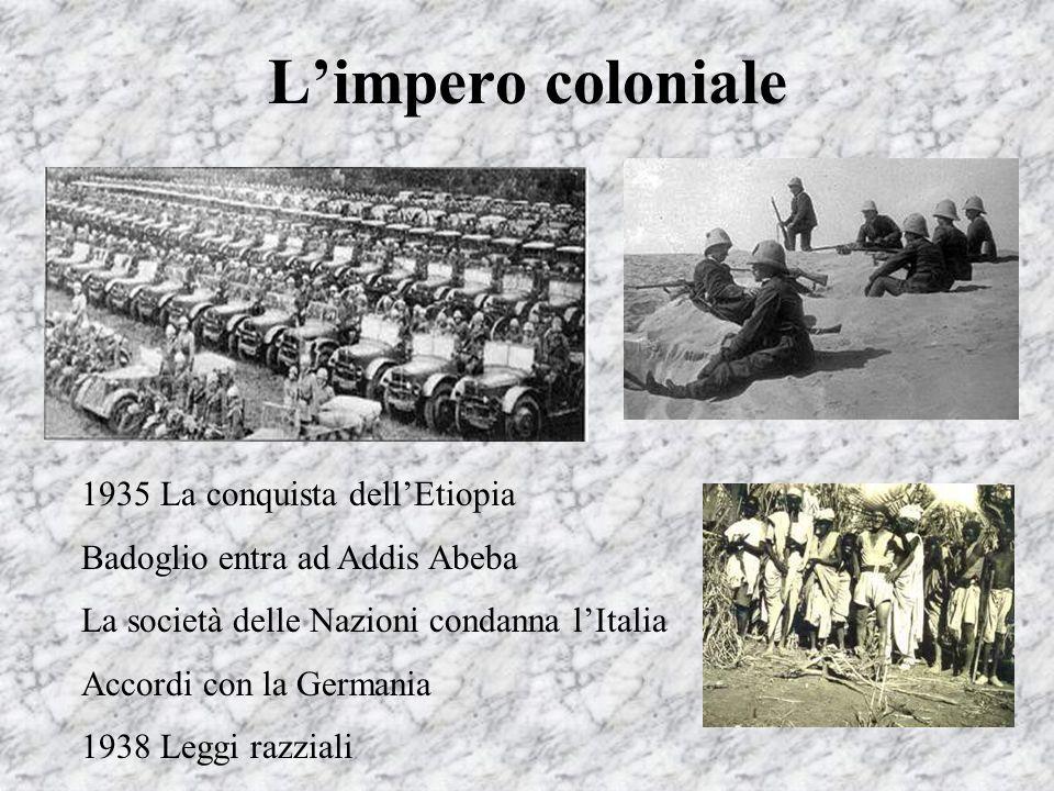 Limpero coloniale 1935 La conquista dellEtiopia Badoglio entra ad Addis Abeba La società delle Nazioni condanna lItalia Accordi con la Germania 1938 L